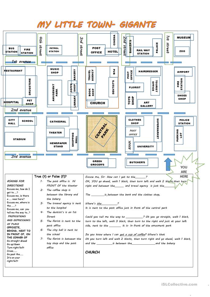 giving directions, prepositions of place, places in a town - ESL worksheets
