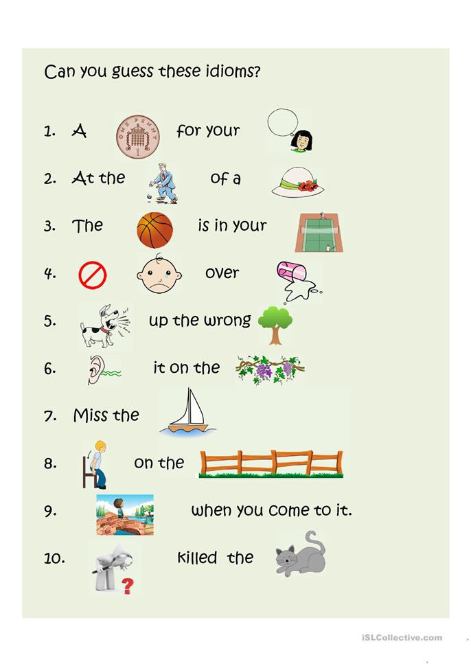 Guess English idioms 2 - ESL powerpoints