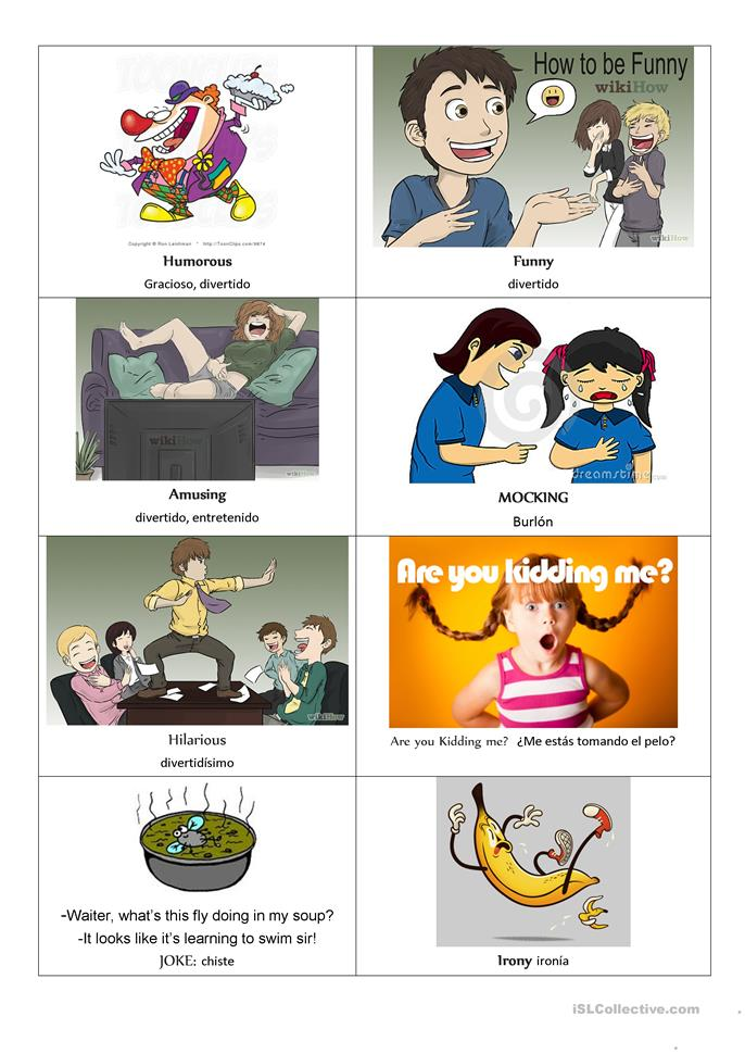 HUMOUR TOPIC FLASH CARDS - ESL worksheets