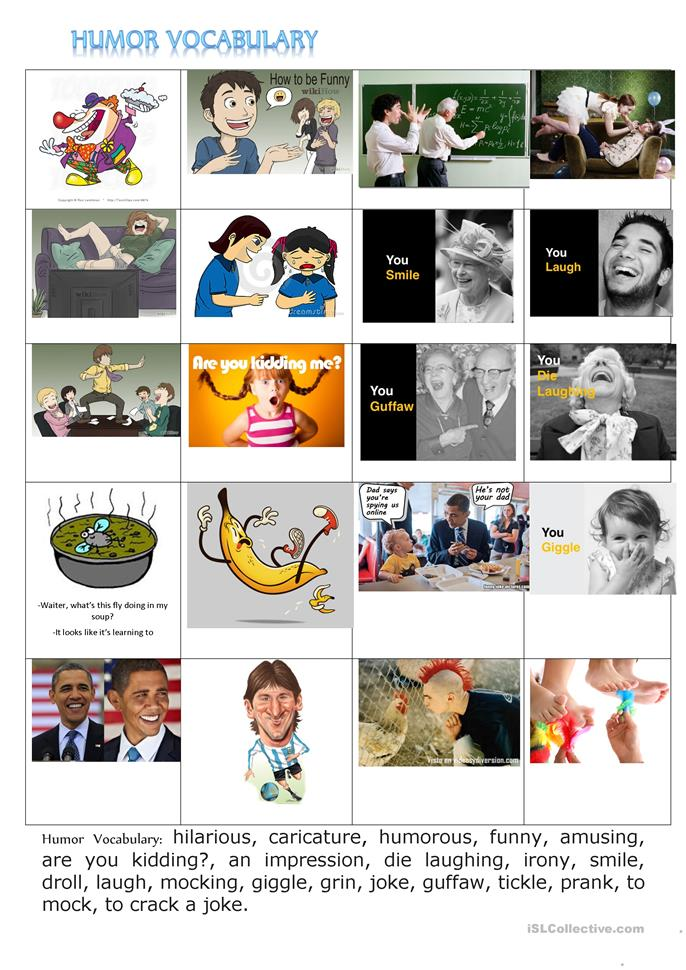 HUMOUR VOCABULARY WORKSHEET AND LAUGHTER THERMOMETER - ESL worksheets