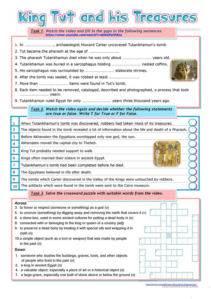 King Tut and His Treasures - ESL worksheets