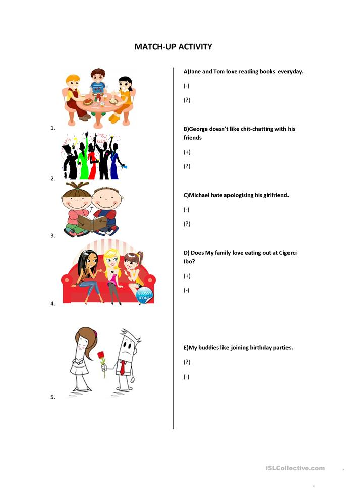 like,love,hate +ing - ESL worksheets