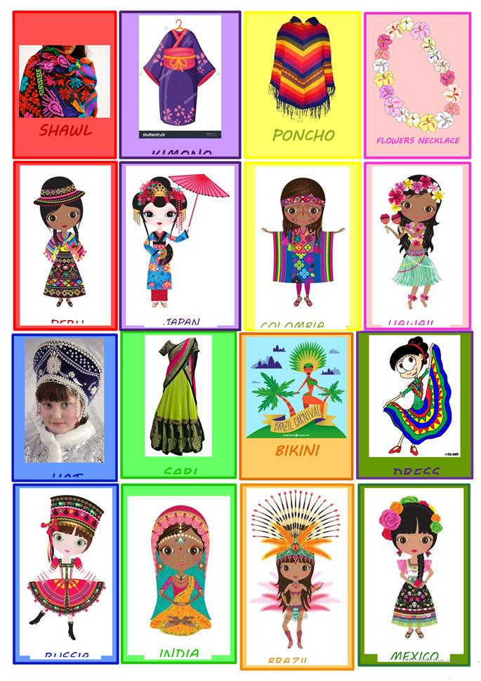 MATCHING GAME CLOTHES AND NATIONALITIES  - ESL worksheets