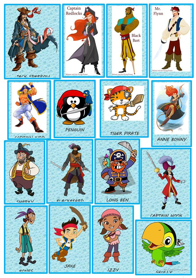 PIRATES CHARACTERS FLASH CARD GAME - ESL worksheets