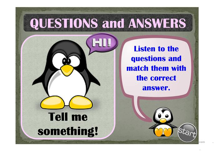 QUESTIONS & ANSWERS - a matching game (listening ...