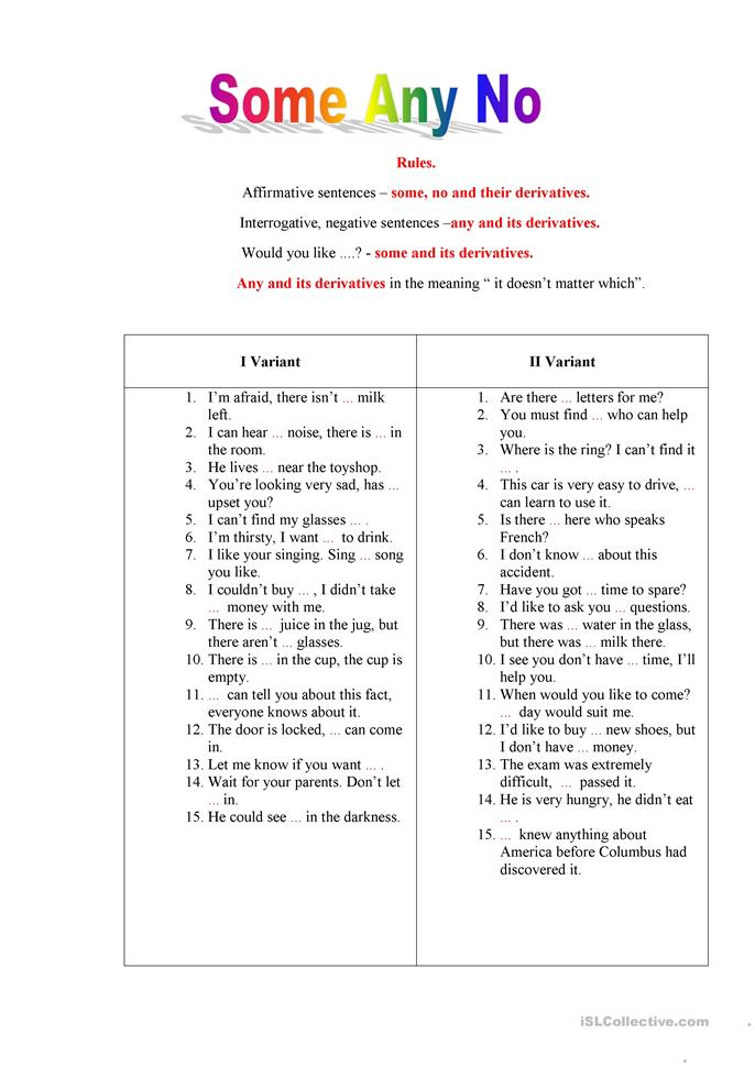 Some, any, no - ESL worksheets