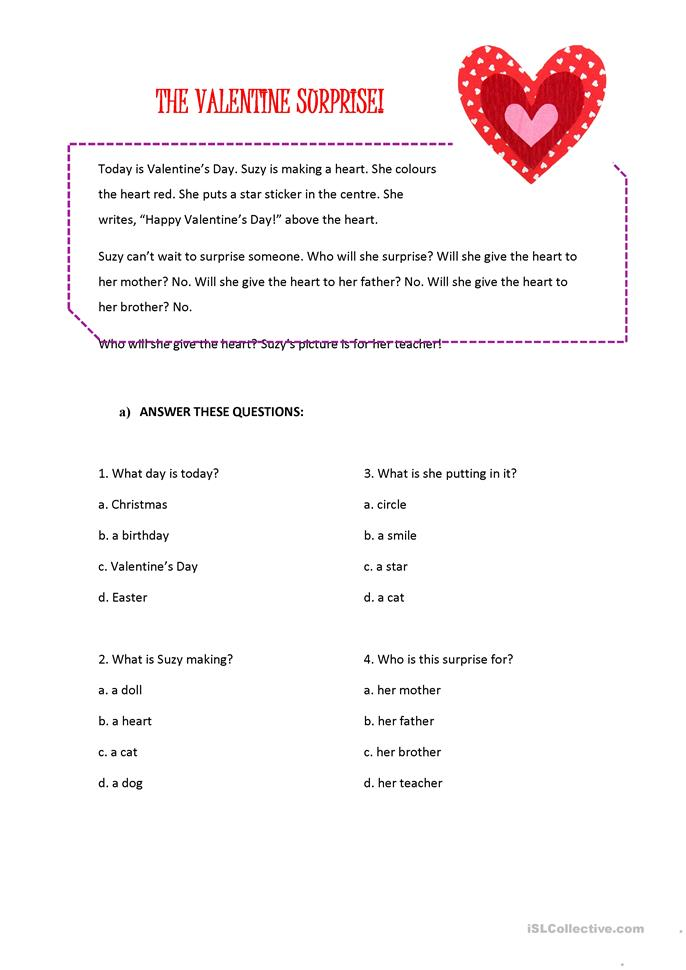 The Valentine's surprise - ESL worksheets