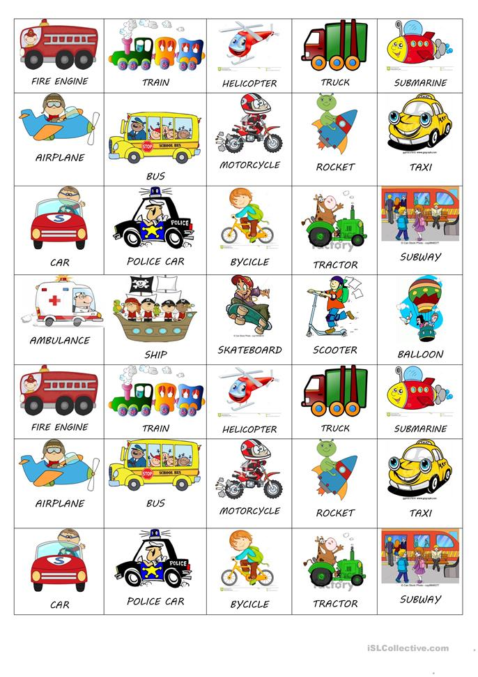 TRANSPORTS STICKERS FOR LITTLE KIDS - ESL worksheets
