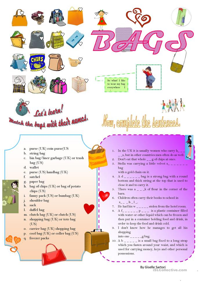 TYPES OF BAGS - ESL worksheets
