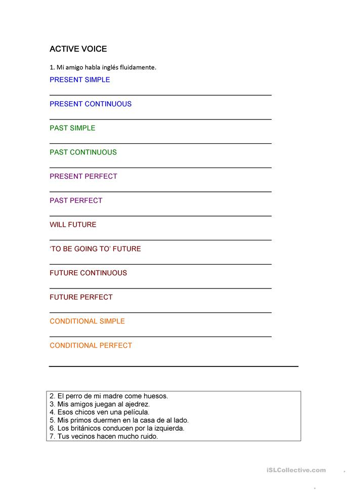 VERB TENSE PRACTICE - ESL worksheets