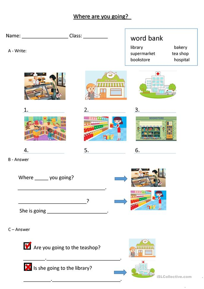 Where are you going - ESL worksheets