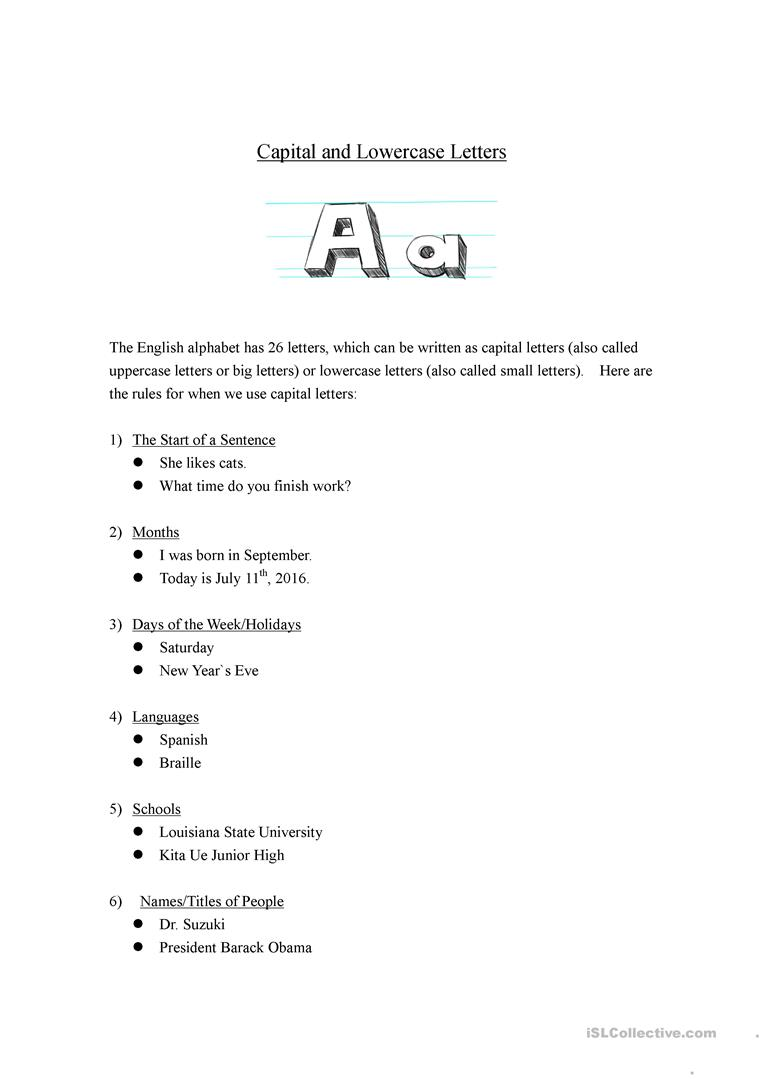 Capital And Lowercase Letters Worksheet Free Esl Printable