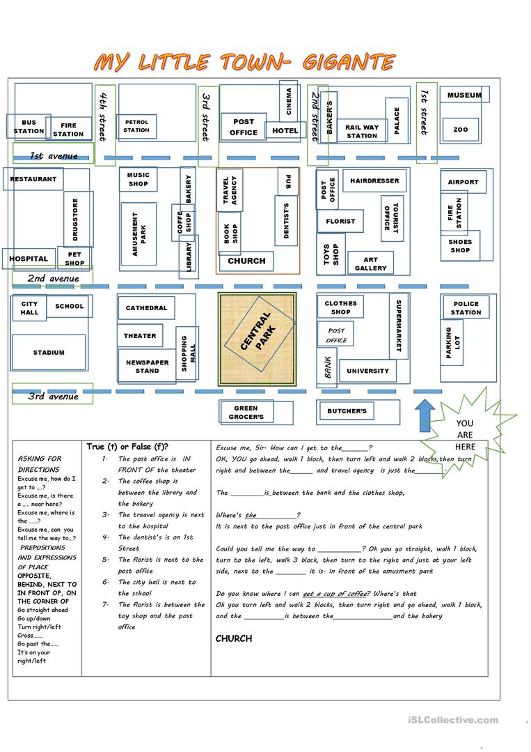 giving directions prepositions of place places in a town worksheet free esl printable. Black Bedroom Furniture Sets. Home Design Ideas