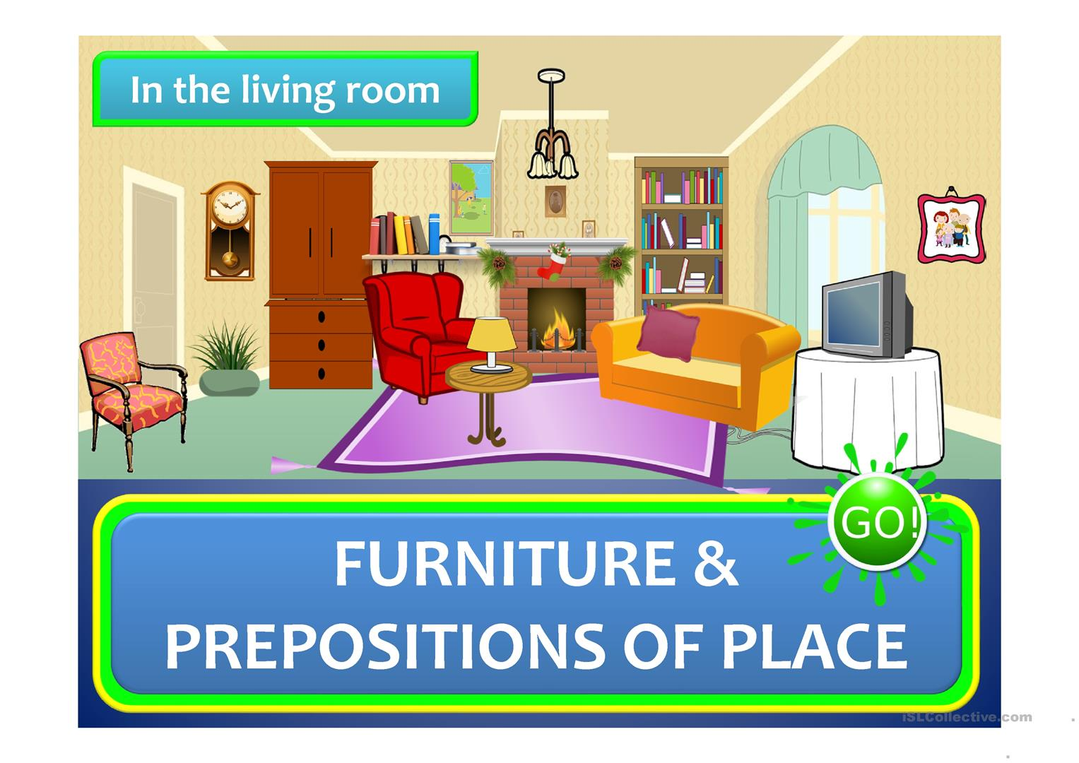 Describe your living room using prepositions for Fun living room furniture