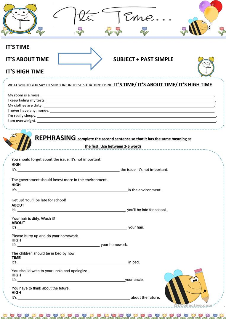a1f12182056 It s (high   about ) time worksheet - Free ESL printable worksheets ...