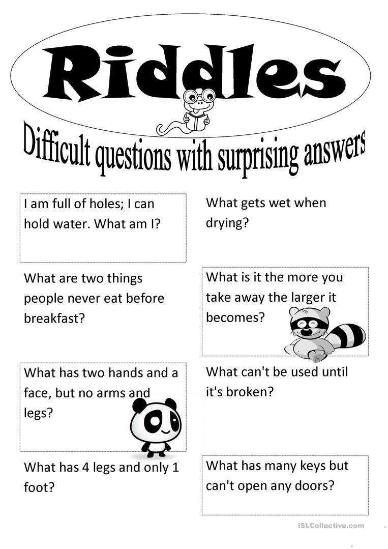 picture relating to Printable Riddles With Answers identify Riddles - English ESL Worksheets