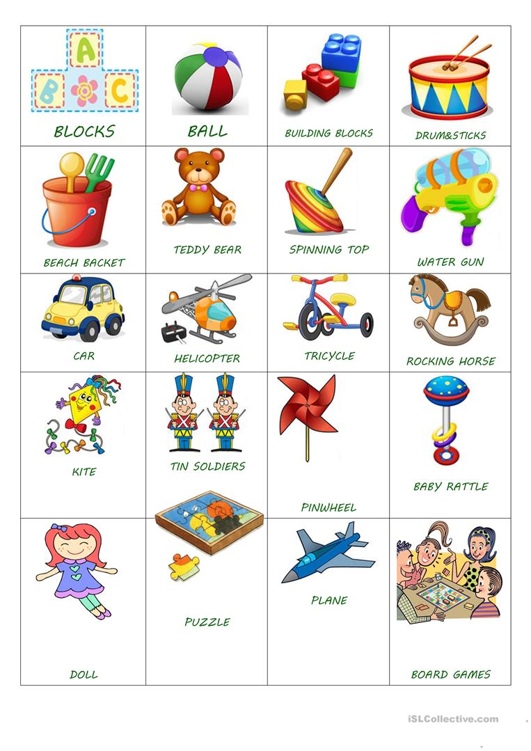 Toy Vocabulary Game : Toy simple flash cards worksheet free esl printable