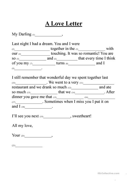 A Love Letter Worksheet  Free Esl Printable Worksheets Made By Teachers