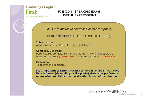 FCE Speaking Tips and Expressions