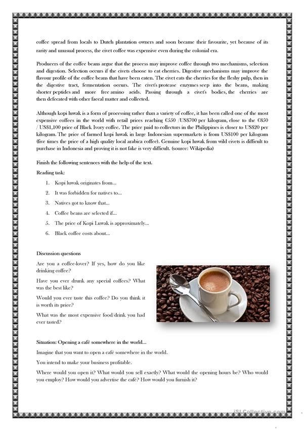 Kopi luwak- One of the most expensive coffees in the world