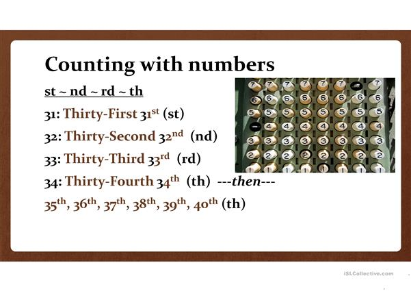 Numbers and Counting in English