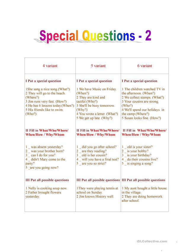 Special Questions -2