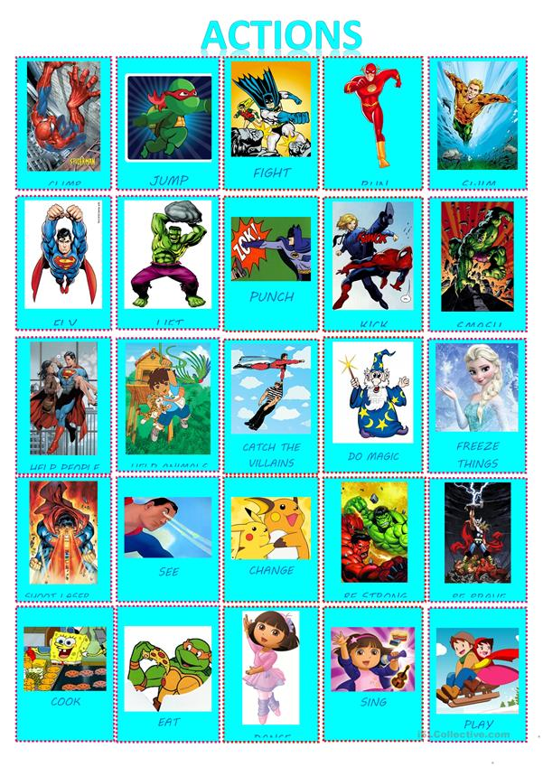 SUPERHEROES AND CARTOONS ACTIONS POSTER