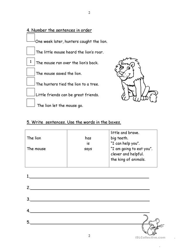 Aesop's Fables Online Coloring Pages | Lion and the mouse, Fables ... | 849x601