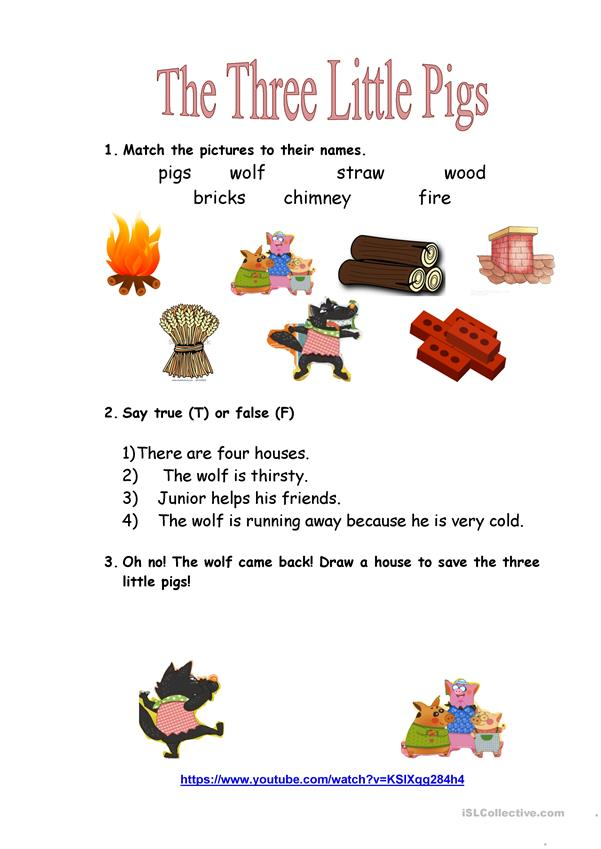 Three Little Pigs Movie Worksheet