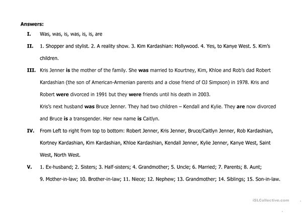 Who are Kardashians? Family A1 worksheet