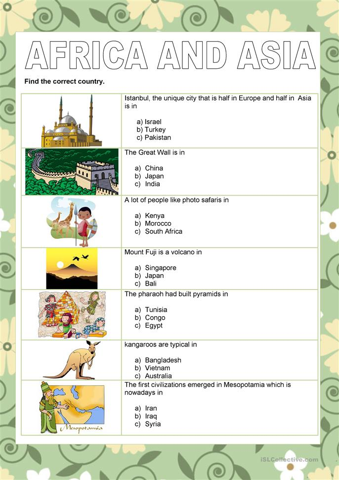 Countries - Africa and Asia - ESL worksheets