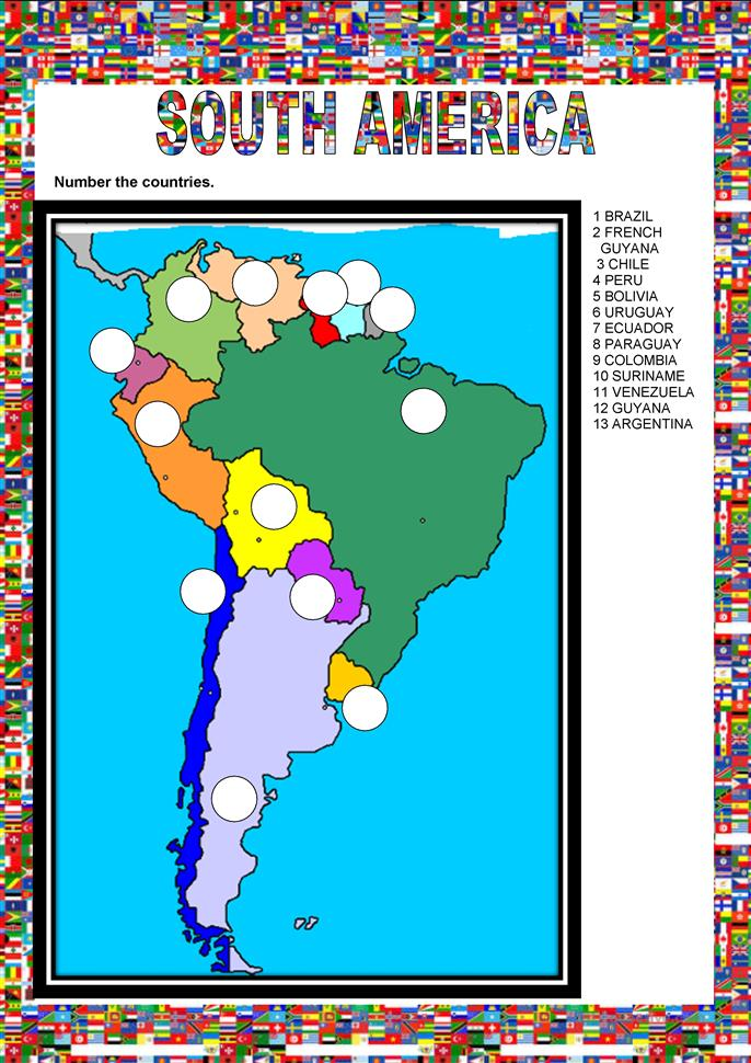 Countries - South America - ESL worksheets