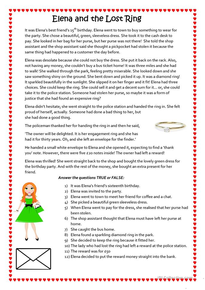 and the lost ring worksheet free esl printable