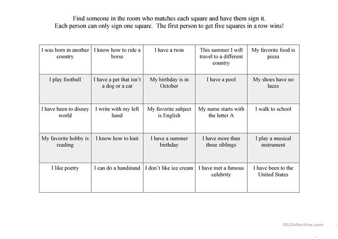 {15 FREE ESL icebreakers worksheets – Icebreaker Worksheets