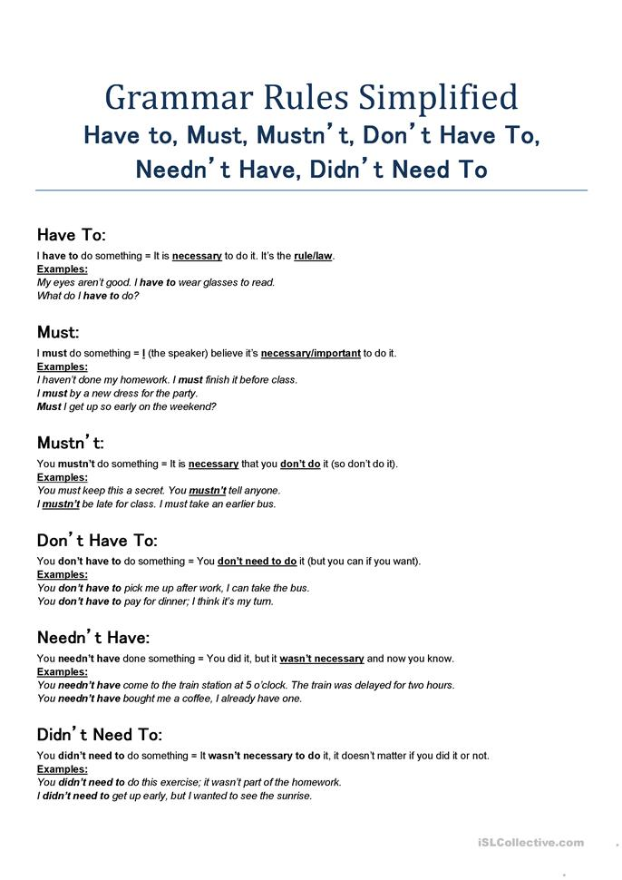 Grammar Rules Simplified - Have to, Must, Mustn't, Don't Have To, N... - ESL worksheets