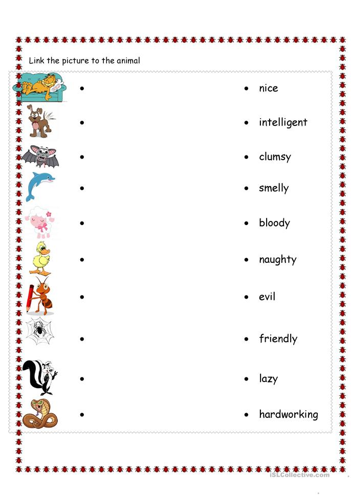 personality and animals - ESL worksheets