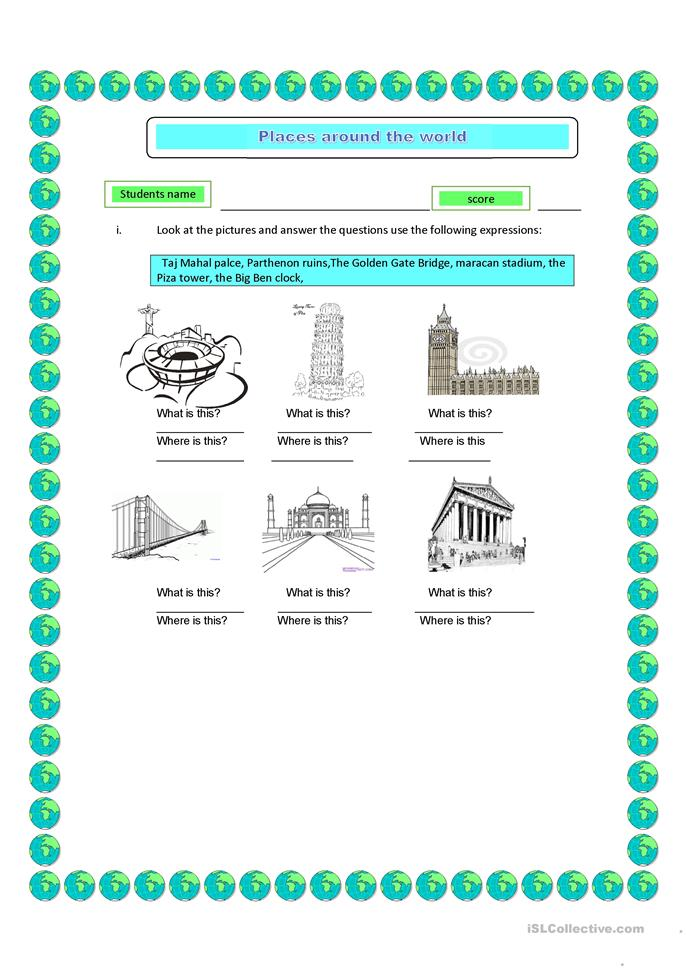 places around the world - ESL worksheets