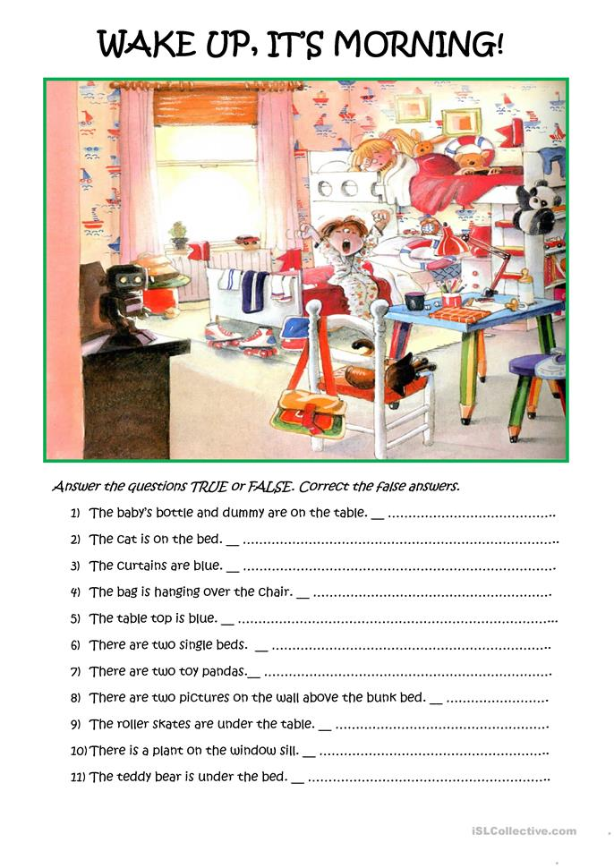 Simple reading comprehension with a picture.  - ESL worksheets