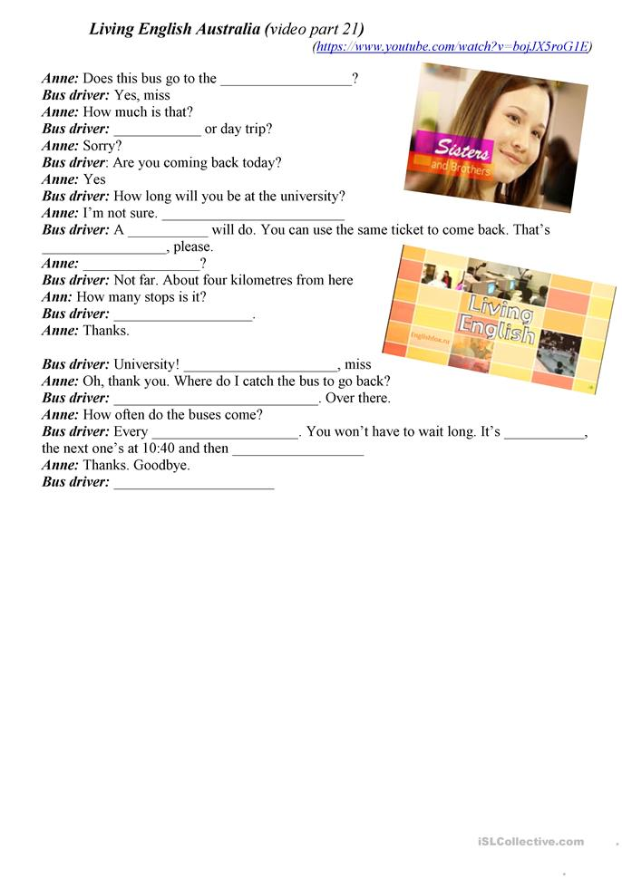 travel by bus - ESL worksheets