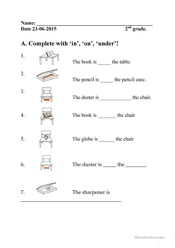 In On Under Kindergarten Worksheets