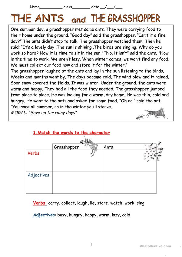 photograph regarding The Ant and the Grasshopper Story Printable referred to as The Ants and the Grhopper- Fable - English ESL Worksheets