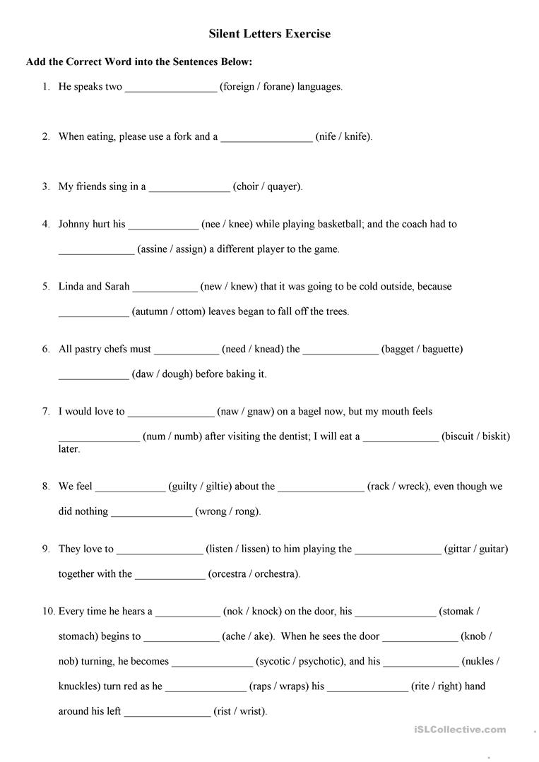 words with silent letters worksheets pdf