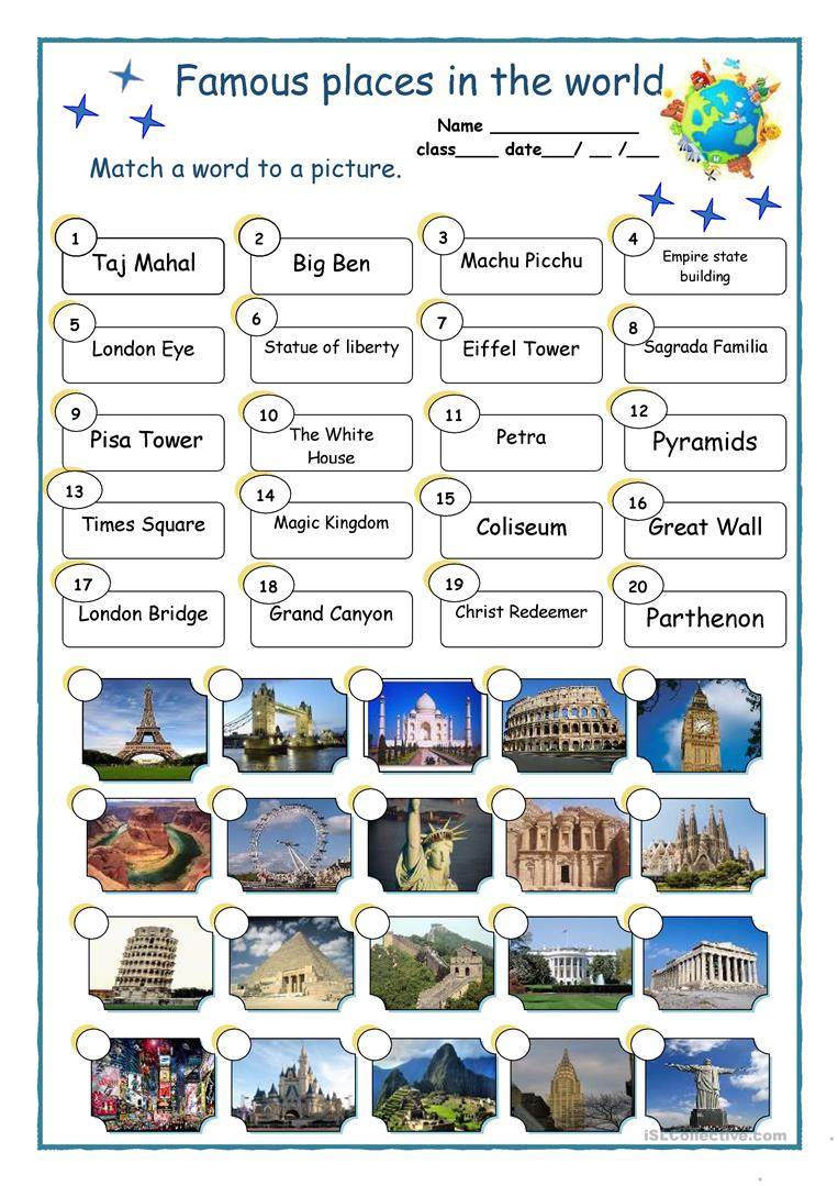 famous places in the world worksheet free esl printable worksheets made by teachers. Black Bedroom Furniture Sets. Home Design Ideas