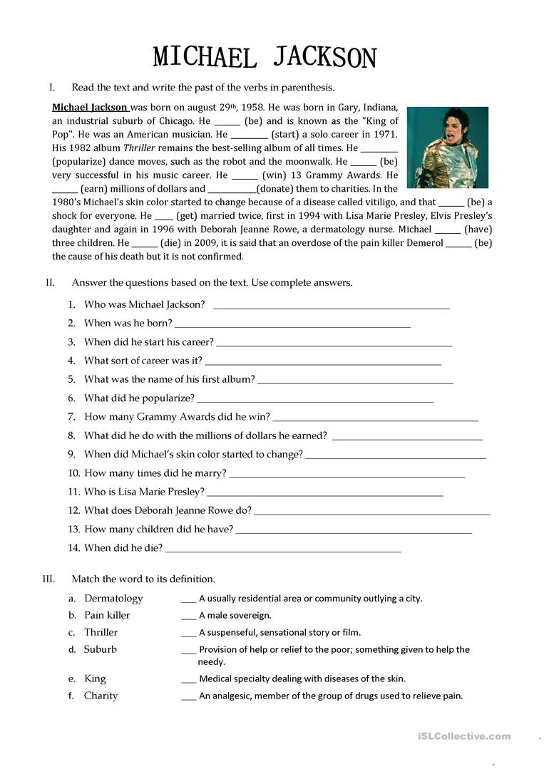 picture regarding Printable Biography Worksheets named Michael Jackson Biography - English ESL Worksheets