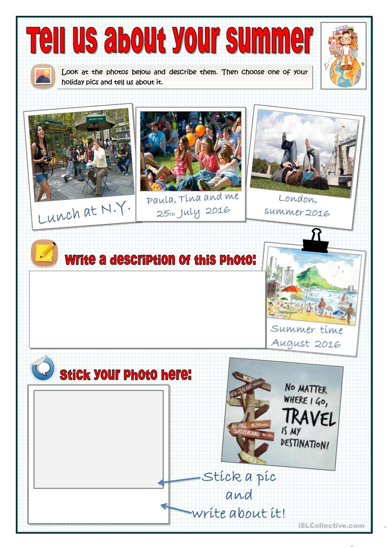 TELL US ABOUT YOUR SUMMER - SPEAK AND WRITE worksheet - Free ESL