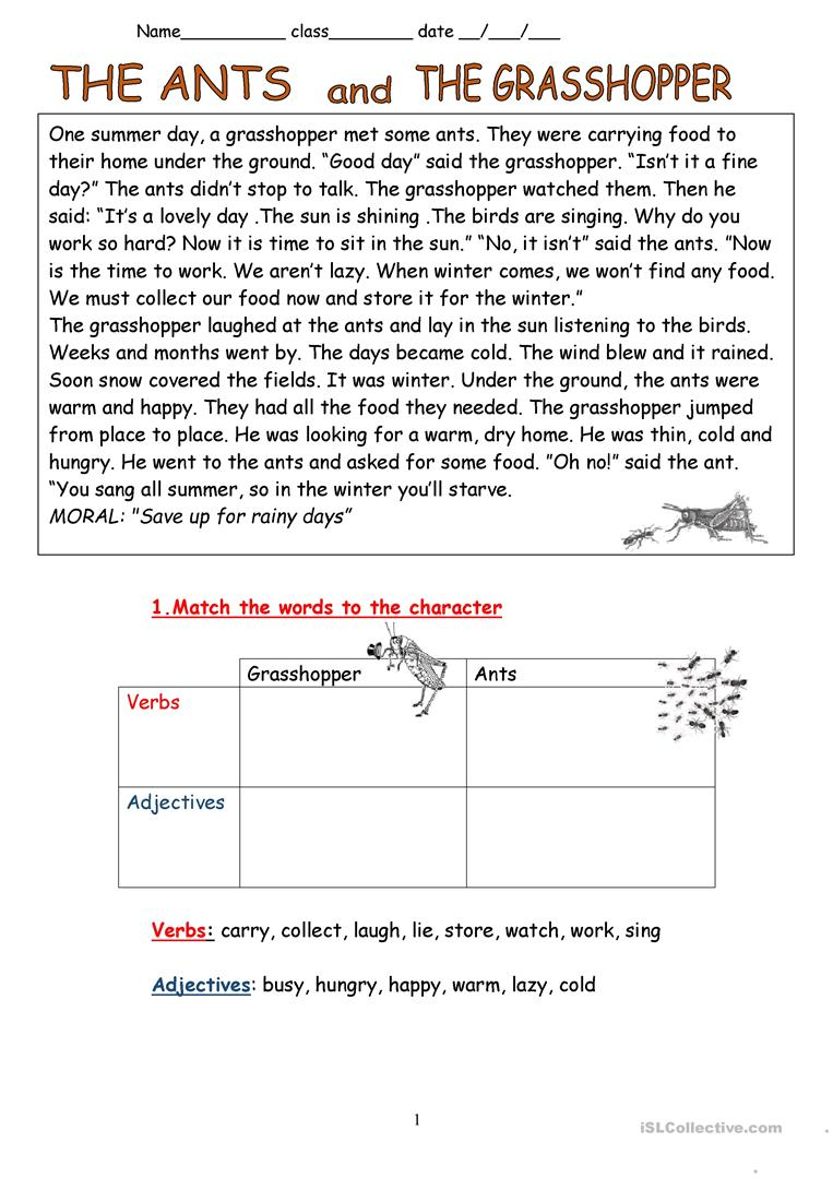 image relating to The Ant and the Grasshopper Story Printable named The Ants and the Grhopper- Fable - English ESL Worksheets