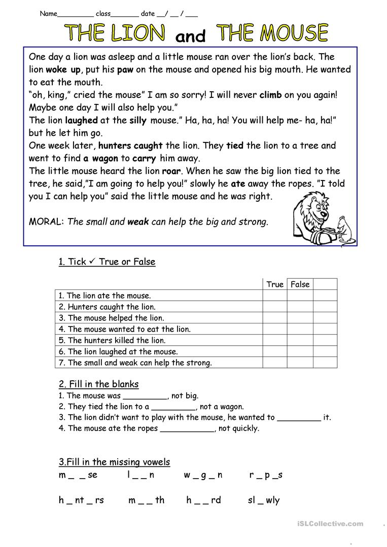 graphic regarding The Lion and the Mouse Story Printable called The Lion and the Mouse - English ESL Worksheets