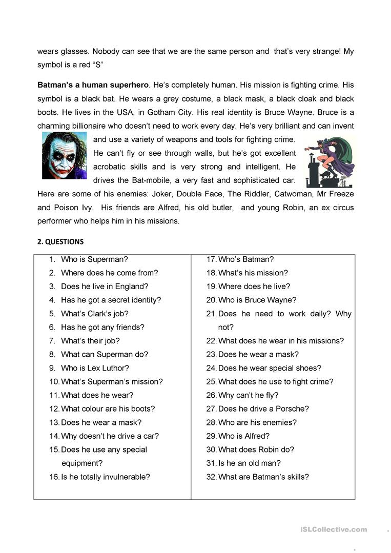 TWO SUPERHEROES SUPERMAN AND BATMAN Worksheet