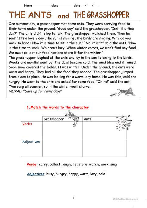 The Ants And The Grasshopper Fable Worksheet Free Esl Printable