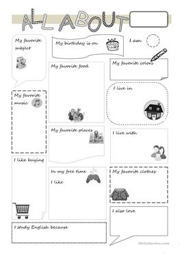 61 FREE ESL all about me worksheets